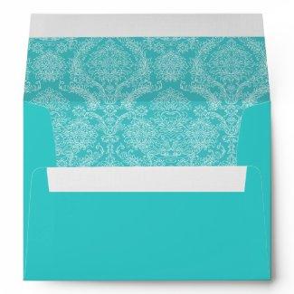 Vintage Aqua Damask Wedding Envelopes