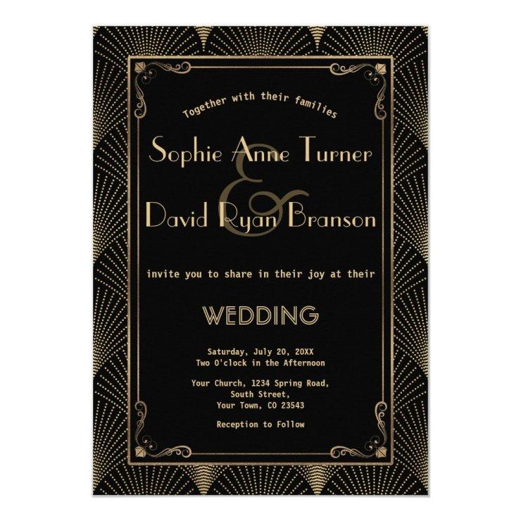 Vintage Art Deco Great Gatsby Wedding Invitation