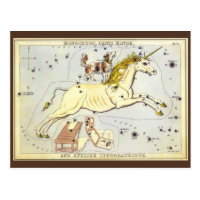 Vintage Astronomy, Monoceros Unicorn Constellation Postcard