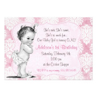 Vintage Baby Girl Chic Damask Birthday Invitation