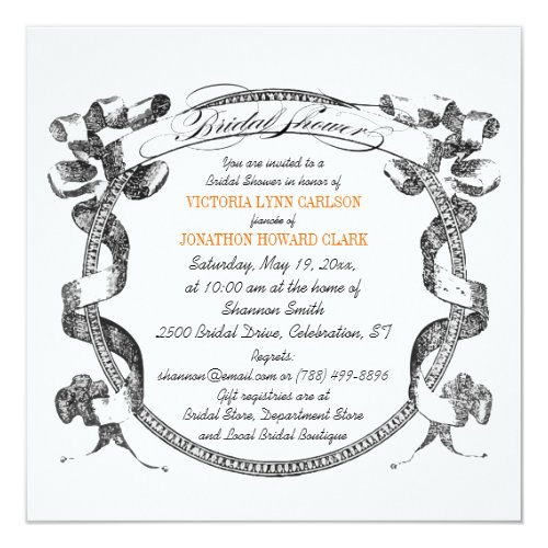 Vintage Banner Flourish Script Bridal Shower Invitation