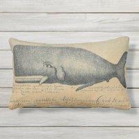 Vintage Beach Whale Outdoor Patio Lumbar Outdoor Pillow ...