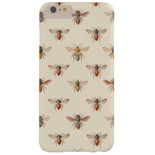 Vintage Bee Illustration Pattern Barely There iPhone 6 Plus Case