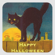 Vintage Black Cat Halloween Square Sticker