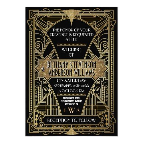 Vintage Black &amp&#x3B; Gold Art Deco Wedding Invitations