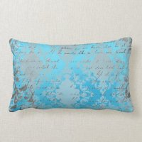 Vintage Blue and Gray Damask with Writing Throw Pillows ...