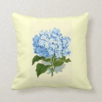 Vintage Blue Hydrangea Throw Pillows