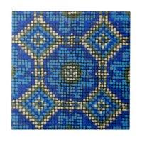 Vintage Blue Mosaic Pattern Ceramic Tiles | Zazzle