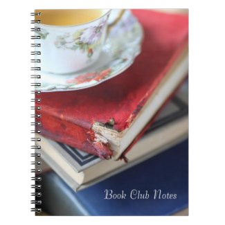 Vintage books with tea notebook