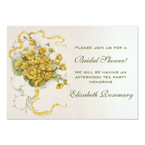 Vintage Bridal Shower Vintage Yellow Flower Floral Invitation