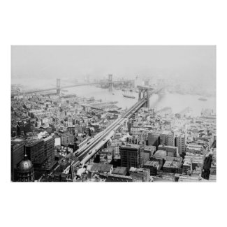 Vintage Brooklyn and Manhattan Bridge Photograph Poster