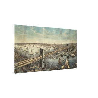 Vintage Brooklyn Bridge Illustration (1883) Canvas Print