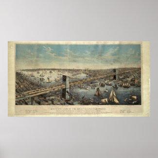 Vintage Brooklyn Bridge Illustration (1883) Print