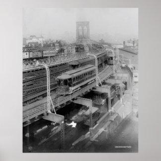 Vintage Brooklyn Bridge Railway Photograph (1910) Posters