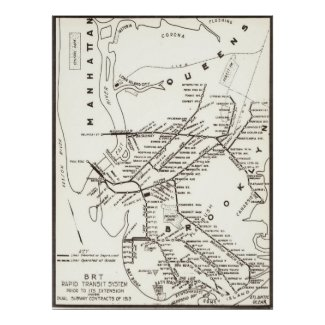 Vintage Brooklyn NY Transit System Map (1912) Posters