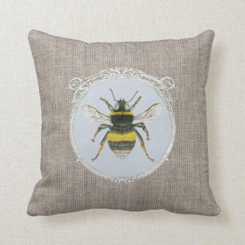 Vintage Bumblebee in Frame on Burlap Cushion