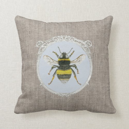 Vintage Bumblebee in Frame on Burlap Cushion