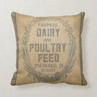 Vintage Burlap Feed Sack Pillow