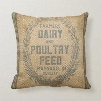 Vintage Burlap Feed Sack Throw Pillow | Zazzle.com
