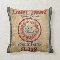 Vintage Burlap Poultry Flour Sack Pillow | Zazzle