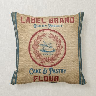 Vintage Burlap Poultry Flour Sack Throw Pillow