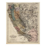 Vintage California Historic Map USA Poster