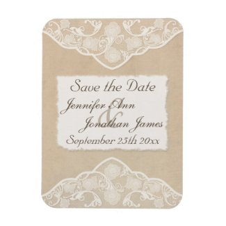 Vintage Canvas, Paper & Lace Style Save the Date Flexible Magnet
