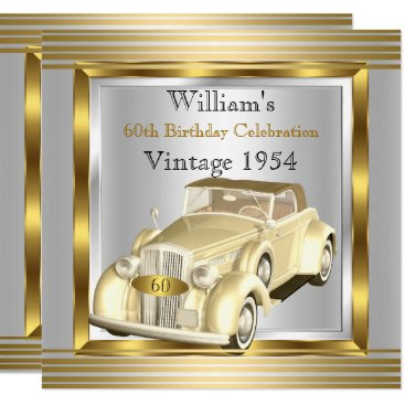 Vintage Car Mans 60th Birthday Party Gold & Silver Invitation