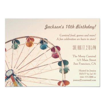 Vintage Carnival Ferris Wheel Kids Birthday Party Invitation