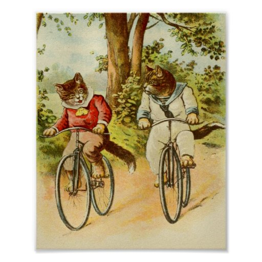 Vintage Cats Riding Bicycles Illustration Poster Zazzle