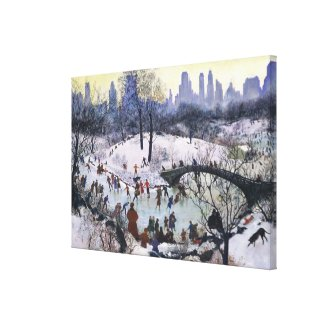 Vintage Central Park Skating Painting Canvas Print