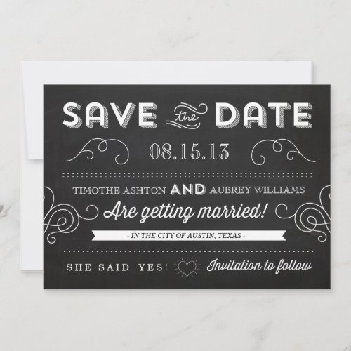 Vintage Chalkboard by Origami Prints Save the Date