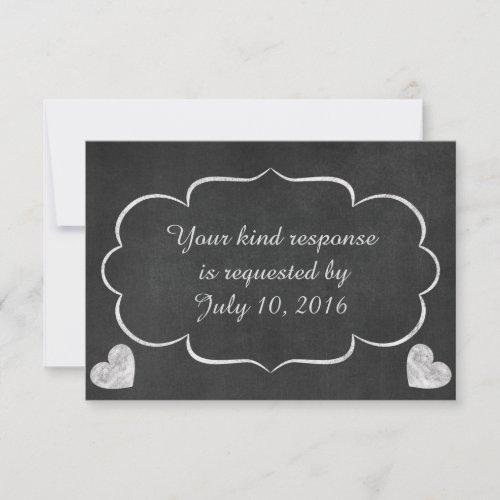 Vintage Chalkboard Heart Wedding RSVP