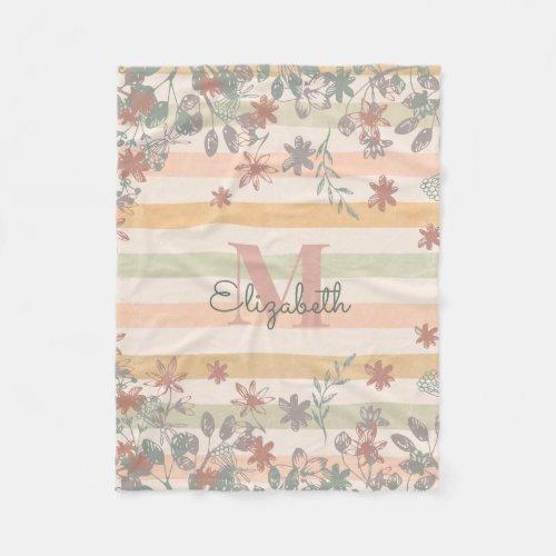Vintage Chic Floral Stripes with Add Name Monogram Fleece Blanket