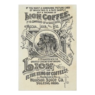 Vintage Chic Lion Coffee Advertisement Cafe Decor Print