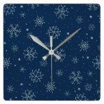 Vintage Christmas Blue Snowflake Design Decor Square Wall Clock