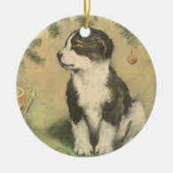 Vintage Christmas, Cute Puppy Under Christmas Tree Christmas Tree Ornaments
