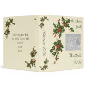 Vintage Christmas Holly with Red Berries binder