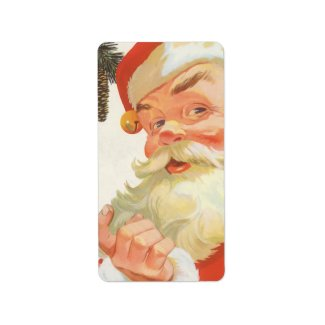 Vintage Christmas, Jolly Santa Claus with a Secret Personalized Address Labels