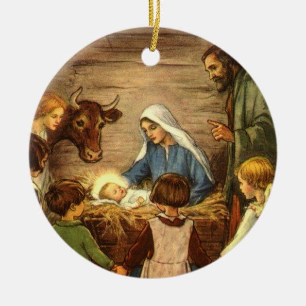Vintage Christmas Religious Nativity W Baby Jesus Ceramic