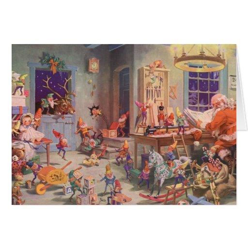 Vintage Christmas Santa Claus With Elves Workshop Card