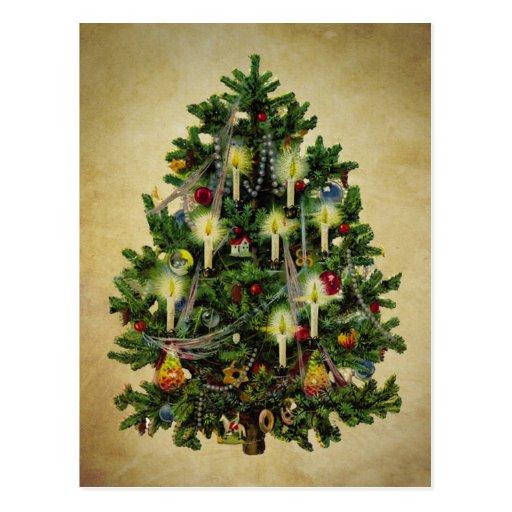 Vintage Christmas Tree Postcard Zazzle