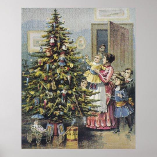 Vintage Christmas Victorian Family Around Tree Poster
