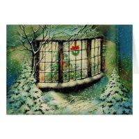 Vintage Christmas Window Decorations Card | Zazzle.com