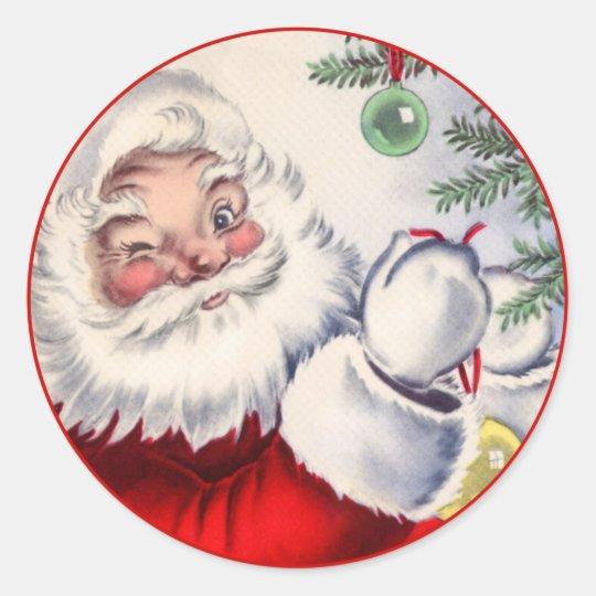 Vintage Christmas Winking Santa Claus Sticker  Zazzlecom