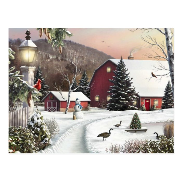 Vintage Christmas Winter Farm Postcard Zazzle
