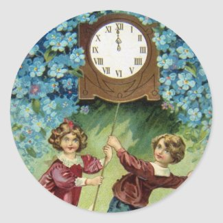Vintage Clock Turns Midnight Stickers