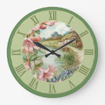 Vintage Country Cottage Scene Green Floral Large Clock