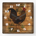 Vintage Country Rooster On Rustic Wood Square Wall Clock