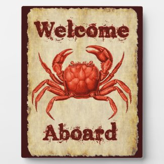 Vintage Crab Design Welcome Plaque